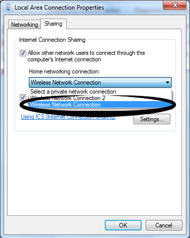 internet connection sharing di windows 7