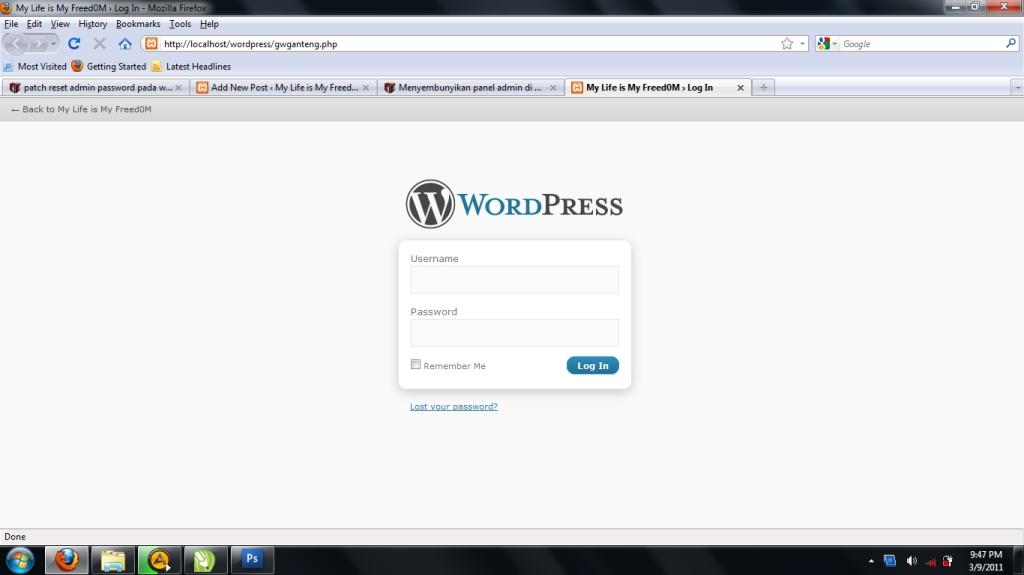 Menyembunyikan Panel Admin di WordPress My Life is My Freedo